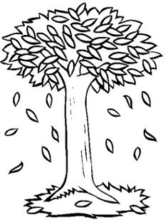 leaves fall tree coloring page - Tree Leaves Coloring Page