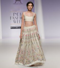 #Beige Aari Embroidered Chanderi #Silk #Lehenga #Set With Blouse from #PRAMA by #Pratima #Pandey at #Indianroots