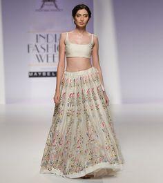 Beige Aari Embroidered Chanderi Silk Lehenga Set With Blouse