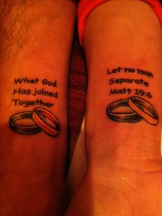 Marriage tattoo awhh i would never do this but its cute maybe ALOT smaller though haha