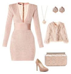 """""""Untitled #609"""" by mchlap on Polyvore featuring Balmain, Nine West, Oscar de la Renta and FOSSIL"""