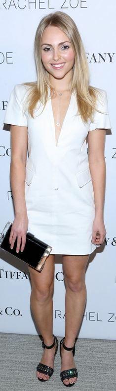 AnnaSophia Robb: Dress – Rachel Zoe  Purse – Edie Parker  Necklace – Tiffany and Co.  Shoes – Schutz