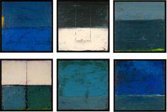 "Graceann Warn. Beach Town Series (1-6) , 2012 21"" x 21"" x 2 "" each Encaustic and oil on wood panels"