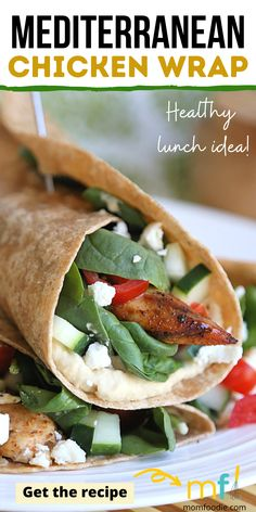 These easy chicken wraps are a healthy lunch idea the family will love. Mediterranean flavors make these chicken wraps fresh and tasty!