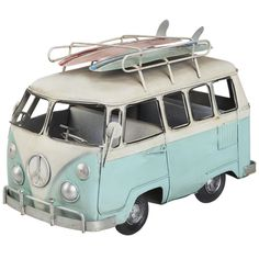 NEW LARGE VINTAGE STYLE BLUE CAMPER VAN METAL HOME ORNAMENT DECOR GIFT RETRO