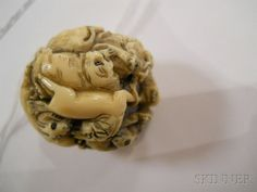 Ivory Netsuke Ball of Zodiac Animals, Japan, 19th/20th century, twelve zodiac animals entangled to form a ball, incised details, unsigned, dia. 1 1/8 in.