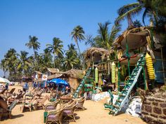 Beach shacks on Anjuna Beach Goa