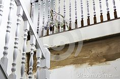 A Staircase being painted and renovated