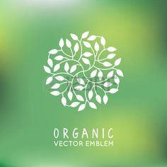 cosmetics packaging: Vector organic and natural emblem and logo design template - green ecology concept or natural cosmetics - circle made with leaves