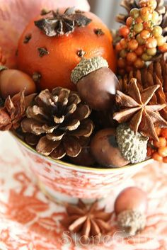 It's hard to beat the scent of pine cones, oranges & cloves, and star anise while enjoying autumn and anticipating upcoming holidays!  (Star anise is the seed pod of evergreen tree 'Illicium Verum' grown in southwestern China and Japan.) <*> (autumn, fall, holidays, decor)