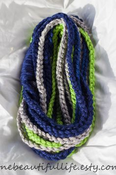 UNIQUE Crochet Infinity Chain Scarf -  NFL -  Seattle Seahawks - (Home Version). $25.00, via Etsy.