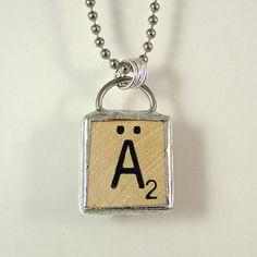 Scrabble Letter A Umlaut Necklace by XOHandworks $20