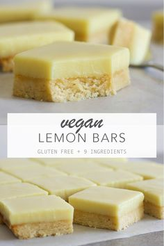 The best lemon bars with a creamy lemon filling on top of a soft buttery base. Vegan gluten free and 9 ingredients. The best lemon bars with a creamy lemon filling on top of a soft buttery base. Vegan gluten free and 9 ingredients. Vegan Treats, Vegan Foods, Vegan Dishes, Easy Vegan Snack, Vegan Snacks On The Go, Vegan Rice Crispy Treats, Vegan Lunches, Vegan Dessert Recipes, Whole Food Recipes