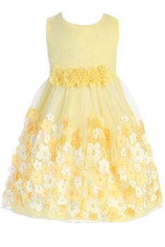 Tulle Overlay Yellow Satin Dress with Dimensional Taffeta Flowers (Baby Girls)