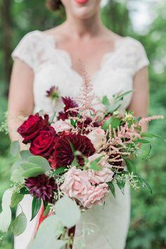Rich burgundy and blush bouquet: http://www.stylemepretty.com/new-york-weddings/syracuse/skaneateles-syracuse/2015/09/14/rustic-glam-finger-lakes-wedding/ | Photography: Elizabeth LaDuca - http://elizabethladuca.com/