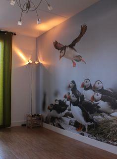 Naadloos fotobehang van puffins bij 123fotobehang gemonteerd in keuken voor extra sfeer!