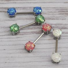 6a89254faf4016 Absolutely gorgeous faux opal nipple bars. Opal Color, Absolutely Gorgeous,  Body Jewelry,
