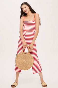 Shirred Striped Jumpsuit