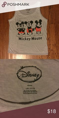 Disney Mickey Mouse tank top This grey tank top features a frustrated Mickey Mouse. Perfect for casual wear or your next day at Disneyland! Lightweight, burnout type material. Size Large Disney Tops Tank Tops