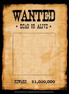 Make your own wanted poster using a blank wanted poster template. Here are three free wanted poster templates, in color and black and white. Wanted Template, Second Grade Books, Anniversaire Cow-boy, Westerns, Cumple Toy Story, Cowboy Party, Cowboy Theme, Western Parties, Western Theme
