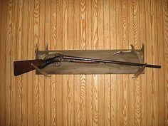Deer Antler Gun Rack,barn board,antlers,rustic,primitive,northwoods,bow,hunters