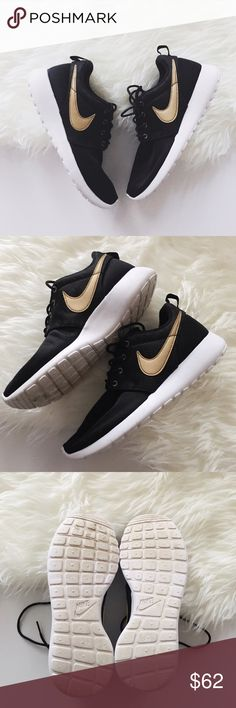 nike • black + gold rosche READ •nike rosche in kids size - see conversion chart •black with gold swoosh and gold shoelace holes - black print also around gold swoosh - zoom in to see details •size: 6 Youth - equals size 7.5 women's according to the Nike chart above; I'm a size 8, and these fit me perfect  •condition: very good condition; the white on bottoms are a tad stained as shown in photos and there may be a few very light spots on the white around the shoes Nike Shoes Sneakers