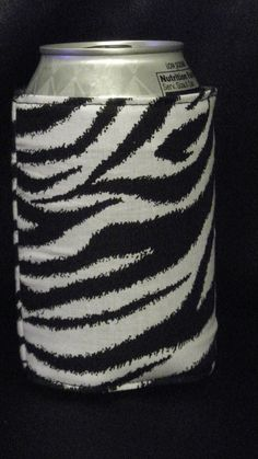Zebra Can or Water Bottle Cozy Koozie by favorite4paws on Etsy, $2.00