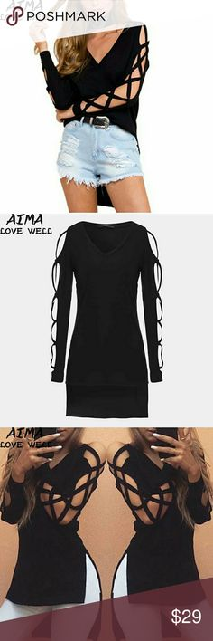 Asymmetrical  split long tee Long sleeve lightweight  black tee open cable down sleeves side slots super cute size xl which fits size 14 a cording to size chart Tops Tees - Long Sleeve