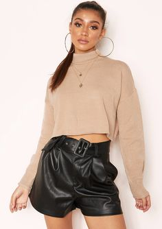 58f0d1dd368 Missyempire - Betsy Taupe High Neck Cropped Jumper Neckline, Ruffle Blouse,  Satin, Long