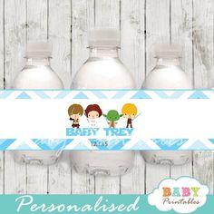 Personalized printable blue chevron star wars baby shower water bottle labels. #babyprintables
