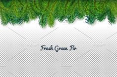 Green fir-tree border by Digithings on @creativemarket