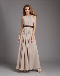 A Line Scoop Neck Open Back Long Grey Chiffon Wedding Guest Bridesmaid Dress With Sash