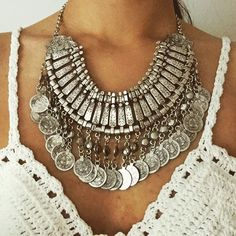Bohemian Statement Necklace #jewelry #necklace #fashion #bohemian #statement necklace #boho #silver