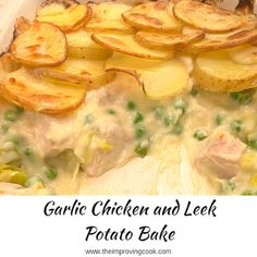 Garlic Chicken and Leek Potato Bake- delicious comfort food for winter. Chicken pieces with leeks and peas in a creamy garlic sauce topped off with sliced potatoes. Perfect for family meals. Chicken And Leek Recipes, Chicken And Leek Pie, Baked Salmon Recipes, Chicken Potatoes, Sliced Potatoes, Chicken And Leek Casserole, Chicken Potato Bake, Chicken Meals, Potato Soup