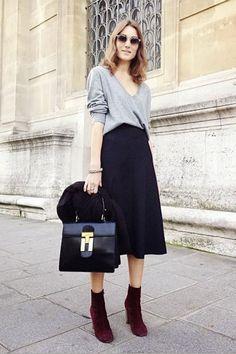 #office #fashion grey shirt + black maxi skirt