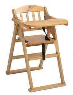 silla trona de madera para bebes