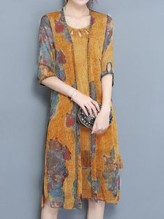 Elegant Two Pieces Set Half Sleeve Print Chiffon Women Dress - Banggood Mobile