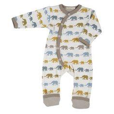 9d192d8820 Pigeon Organic Clothing for babies Long Multi-Colour Elephant Silhouette  Romper Beautiful elephant silhouette print