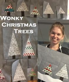 Easy Christmas Tree quilting project from Leah Day. Wonky Christmas Trees, perfect for beginners.  https://leahday.com/pages/wonky-christmas-trees-free-quilt-pattern-by-leah-day