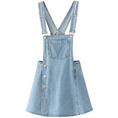Light Blue Side Button Overall Mini Dress (735 MXN) ❤ liked on Polyvore featuring dresses, vestidos, short blue dresses, short dresses, cotton mini dress, cotton dresses and mini dress