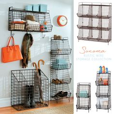 Rustic small-space storage collection – these multi-purpose storage pieces can be used in an entryway, kitchen, garage, laundry room, mudroom – just about anywhere!