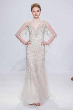 V-Neck Fit and Flare Wedding Dress  with Dropped Waist in Beaded Embroidery. Bridal Gown Style Number:33592833