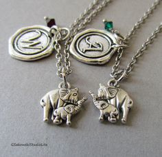 Mother Daughter, Best Friends, Personalized Wax Seal Birthstone Initial, Two Elephants Charm Necklace, on Etsy, $27.00