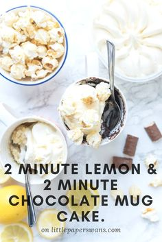 Quick and simple mug cakes. Light and fluffy lemon cake and rich chocolate cake. The perfect dessert in less than two minutes.