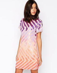 7b23346fd79 Warehouse Colourful Sequin T Shirt Dress at asos.com