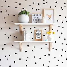 I love dots on the wall. This would make a cute pattern for a blanket too.