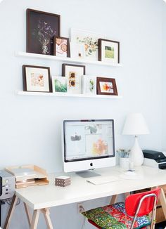 Office + space + desk = I need to add picture shelves to my office