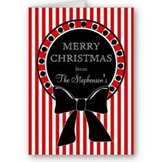 Candy Stripes Wreath Personalized Christmas Card