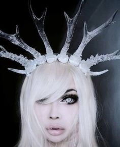 I can't believe you're human - Wylona Hayashi - buzznet Snow White Queen, Dark Queen, Snow Queen, Goth Girl Costume, Girl Costumes, Face Off, Ice Queen Costume, Cosplay Horns, Goth Beauty