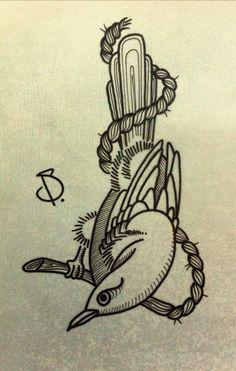 © SailorDave – 2015 | Bird! Bird! #tattoo #tattoos #ink #inked #tattooartist #artist #art #swissartist #sailor #dave #bird #rope #sailordave #gravur #oldschool #traditional #traditionaltattoo #ocean #sea #oceannightmare #nightmare #creature #oceancreature #sail #sailing